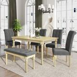 Rosalind Wheeler 6 Piece Dining Table Set w/ Tufted Bench,Wooden Kitchen Table Set W/4 Upholstered Dining Chairs in Brown/Gray   Wayfair