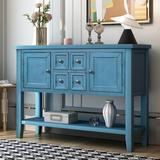 Rosecliff Heights Buffet Sideboard Console Table w/ Bottom Shelf Wood in Blue, Size 34.0 H x 15.0 D in | Wayfair 0E22C303D24143FA8D555FD5DFCBDDA8
