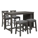 Gracie Oaks 5 Pieces Counter Height Wooden Bar Table Set w/ 2 Chairs & 2 Stools, Compact Rustic Farmhouse Bar Table Set w/ Storage Shelf For Sma