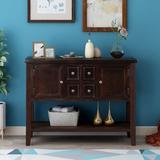 Rosecliff Heights Buffet Sideboard Console Table w/ Bottom Shelf Wood in Brown, Size 34.0 H x 15.0 D in | Wayfair 66486E4D6C2F4B17B00E200B84A52D50