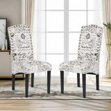 One Allium Way® Dining Script Fabric Accent Chair w/ Solid Wood Legs Set Of 2 in Black/Brown, Size 40.5 H x 18.5 W x 19.5 D in | Wayfair