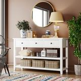 Longshore Tides Retro & Modern Design Console Table w/ Pine Solid Wood Frame & Legs THREE Top Drawers & TWO Open Shelves (Antique Gray + Black) Wood