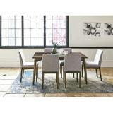 Corrigan Studio® Cacapon 5-Piece Dining Set w/ Rectangle Table & 4 Upholstered Side Chairs Wood/Upholstered Chairs in Brown/Gray/White | Wayfair