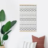 "Dakota Fields Boho Handmade Wall Hanging Art Tapestry, African Mudcloth Inspired, 31"" L X 20"" W in White, Size 31.0 H x 20.0 W in | Wayfair"