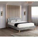 Rosdorf Park Modern Style Upholstered Platform Bed w/ Tufted Curved Style Headboard & Brass Nailhead Trim Decoration Wood in Gray, Size 39.4 H in