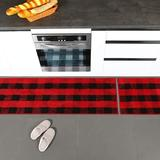 Loon Peak® 2 Pieces Buffalo Plaid Check Rug Set Water Absorb Microfiber Non-Slip Kitchen Rug Bathroom Mat Checkered Doormat Carpet For Laundry