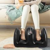 Inbox Zero Foot Massager Machine Shiatsu Foot & Calf/Leg Massager w/ Heat Deep Kneading in Black/Green, Size 12.0 H x 18.0 W x 12.0 D in | Wayfair