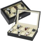 Winston Porter Watch Organizer Large 12 Slot Watch Display Case Organizer w/ Glass Lid & Removable Pillow,Jewelry Box For Men in Brown   Wayfair