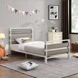 17 Stories Twin Size Platform Bed Frame w/ Wooden Headboard & Metal Slats Wood/Wood & Metal/Metal in Gray/White, Size 39.4 H x 39.4 W x 75.2 D in