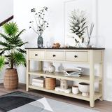 Red Barrel Studio® Retro & Modern Design Console Table w/ Pine Solid Wood Frame & Legs THREE Top Drawers & TWO Open Shelves (Antique White) Wood