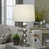 """Rosdorf Park Crestview Metal Table Lamp Brushed Nickel 27"""" w/ 3 Way Switch Metal/Fabric in Brown/Gray, Size 27.0 H x 15.0 W x 15.0 D in 