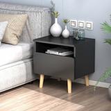 "Corrigan Studio® 15.5""W 1 Drawer Nightstand w/ 1 Shelf &Solid Wood Feet,Five Color Wood in Black, Size 18.4 H x 15.5 W x 11.6 D in | Wayfair"