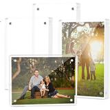Rebrilliant 4-Pack High Transparency Magnetic Picture Frames Frameless, Acrylic Photo Frame Double Sided Free Standing Desktop Display Stand Wayfair