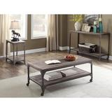 Williston Forge Weathered Oak & Antique Silver Coffee Table in Brown/Gray, Size 20.0 H x 47.0 W x 22.0 D in | Wayfair
