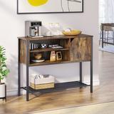 Red Barrel Studio® Sideboard Console Table w/ Bottom Shelf, Wood/Glass Buffet Storage Cabinet For Living Room/Hallway/Entryway in Brown | Wayfair