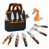 WFX Utility™ Gardening Tool Set - 9 Pieces Aluminium Alloy Garden Tools Kit Included Hand Trowel Shovels Rake, Garden Gloves & Garden Tote   Wayfair