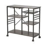 waroom Kitchen Shelf Microwave Oven Rack w/ 6 Hooks & 4 Removable Stop Wheels Wood in Gray/Black, Size 33.27 H x 35.43 W x 14.96 D in | Wayfair