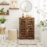 Loon Peak® Bathroom Cabinet Floor Cabinet, Storage Cabinet w/ Louvered Doors Manufactured Wood in Brown, Size 32.3 H x 23.6 W x 11.8 D in | Wayfair