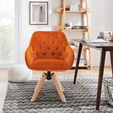Corrigan Studio® Solid Wood Tufted Upholstered Armless Dining Chairs Set Kitchen Dining Room Wood/Upholstered/Velvet in Orange   Wayfair