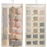 Rebrilliant Closet Hanging Organizer w/ Mesh Pockets & Rotating Metal Hanger,Dual Sided Wall Shelf Wardrobe Storage Bags in Brown | Wayfair