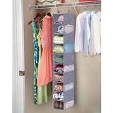 Rebrilliant 10-Shelf Hanging Shoe Organizer For Closet Organizers & Storage Shelves Hat Rack For Closet w/ 10 Side Mesh Pockets in Gray | Wayfair