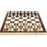 CROSTER Chess Set Folding Magnetic Wooden Standard Chess Game Board Set w/ Wooden Crafted Pieces & Chessmen Storage Slots, Size 2.2 H x 15.71 W in