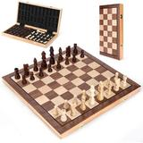 CROSTER Chess Sets Board Game w/ Magnetic Pieces Classic Wooden Folding Portable Professional Chess For Adults Beginner Tournaments Traveling w/ Foam