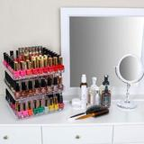 Rebrilliant 3 Tier Clear Nail Polish 360 Rotating Display Rack Organizer Stand Makeup Cosmetics Storage Box Carousel Shelf w/ Acrylic Guard(3Tier)