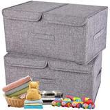 Latitude Run® Fabric Linen Storage Bins w/ Lids Handles Foldable Stackable Cube Storage Boxes Closet Organizers in Gray | Wayfair