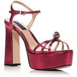 Strappy Platform High Heel Sandals - Red - Aqua Heels