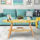 George Oliver 2 Tier w/ Storage Shelf Coffee Table Wood in Yellow, Size 16.5 H x 35.4 W x 19.7 D in | Wayfair 20E3FE90CF054477AAB3151C2E1070ED