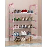 Rebrilliant 4-Tier Expandable & Adjustable Shoe Organizer Storage Shelf in Pink, Size 23.622 H x 12.2047 W x 34.6456 D in | Wayfair