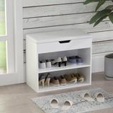 17 Stories 6 Pair Shoe Storage Storage Bench Manufactured Wood in White, Size 21.2 H x 23.6 W x 11.8 D in | Wayfair