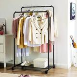 Rebrilliant Double-Rail Garment Rack, Metal Clothes Rack w/ Wheels, Mesh Shelf, Each Rail Holds Up To 66 Lb, For Clothes, Bags, Shoes, Storage Boxes