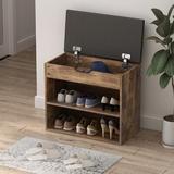 17 Stories 6 Pair Shoe Storage Storage Bench Manufactured Wood in Brown, Size 21.2 H x 23.6 W x 11.8 D in | Wayfair