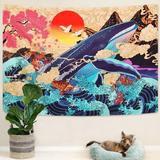 East Urban Home Japanese Ukiyo-E Tapestry Sea Wave Koi Tapestry Trippy Whale Japanese Tapestry, Sunset Animal Tapestry For Dorm Bedroom Living Room