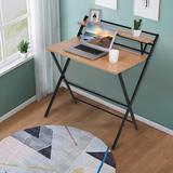 Inbox Zero Industrial C-Shaped Mobile Rolling Sofa Side Table w/ 3-Tier Shelving & Wheels Wood Wood/Metal in Black, Size 15.7 H x 31.5 W x 13.7 D in