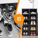 Xiangong Shoe Storage Box,Set Of 6,Shoe Boxes Clear Plastic Stackable,Shoe Containers w/ Clear Door,Shoe Organizer in Black   Wayfair