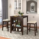 YANSION ANSION Dining Table Set 3 Piece, Rustic Wooden Counter Height w/ 2 Stools, Compact Bar Pub Table Set w/ 3-Tier Storage Shelf in Brown