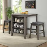 YANSION ANSION Dining Table Set 3 Piece, Rustic Wooden Counter Height w/ 2 Stools, Compact Bar Pub Table Set w/ 3-Tier Storage Shelf in Gray Wayfair