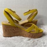 Nine West Shoes   Ladies Nine West Yellow Suede Wooden Heel Ankle Strap Wedge Shoes Sz 11 Nib   Color: Yellow   Size: 11