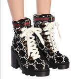 Gucci Shoes | Gucci Trip Black White Gg Tweed Combat Lug Ankle Boots 36 6 | Color: Black/White | Size: 6.5
