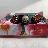 Gucci Jewelry | New Authentic Gucci Tiger Blk Leather Mix Color Crystal Bracelet | Color: Gold | Size: Os