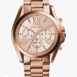 Michael Kors Other   Michael Kors Women'S Bradshaw Rose Gold Stainless Steel 43mm Chronograph Watch   Color: Gold/Tan   Size: Os