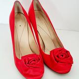 Kate Spade Shoes | Kate Spade Red Satin Flower Stiletto Pumps | Color: Red | Size: 7.5