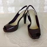 Nine West Shoes | Nine West Platform Heels Peep Toe Shoes Slingback 7.5 Purple Plum Square Toe | Color: Purple | Size: 7.5