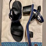 Tory Burch Shoes | New Tory Burch Block-Heel Sandal - Black With Blue Accents (Womens Size 10) | Color: Black/Blue | Size: 10