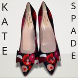 Kate Spade Shoes | Kate Spade Satin Bow Flower Pointy Toe Sho | Color: Black/Red | Size: 6b