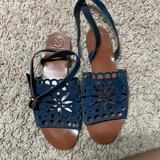 Tory Burch Shoes | Navy Suede Cutout Sandals | Color: Blue | Size: 9