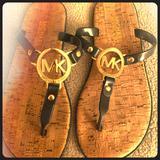 Michael Kors Shoes | Michael Kors Cork Jelly Navy Blue Sandals New! | Color: Blue/Tan | Size: 6